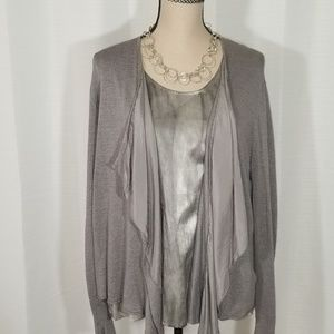 Eileen Fisher set of open Cardigan and Top. Size L